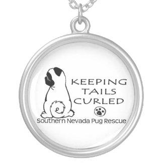 南ネバダのパグの救助のペンダント シルバープレートネックレス