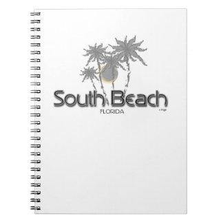 南ビーチのマイアミの灰色のやし ノートブック