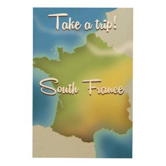 南フランスの地図旅行ポスター ウッドウォールアート