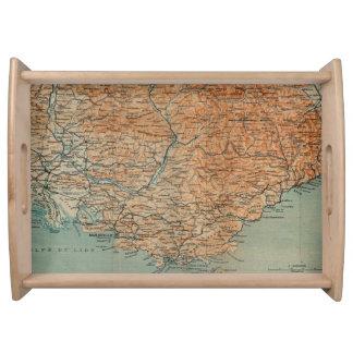 南フランス(1914年)のヴィンテージの地図 トレー