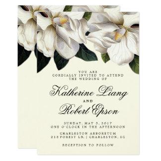 南マグノリアの植物の結婚式招待状 カード