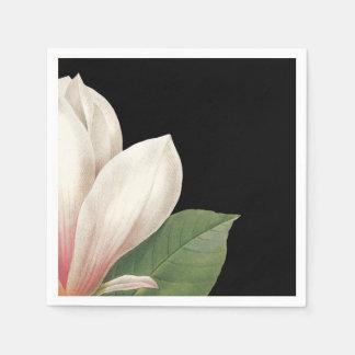 南マグノリアの花|のピンクの白い黒 スタンダードカクテルナプキン