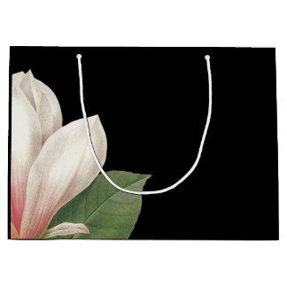 南マグノリアの花|のピンクの白い黒 ラージペーパーバッグ
