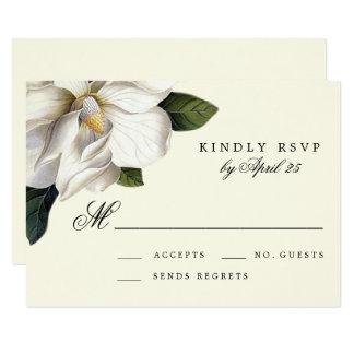 南マグノリア植物の結婚RSVPのカード カード