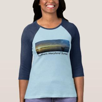 南メリーランドの日没(1)のTシャツW/ColorSleeve Tシャツ