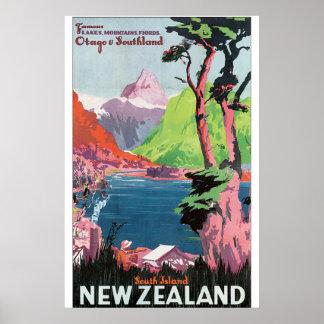 南島のニュージーランドのヴィンテージ旅行ポスター ポスター