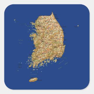 南朝鮮の地図のステッカー スクエアシール