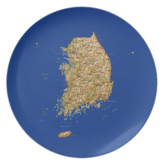 南朝鮮の地図のプレート プレート