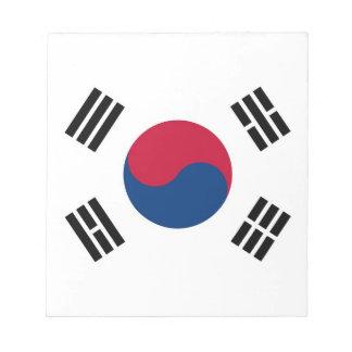 南朝鮮の旗が付いているメモ帳 ノートパッド