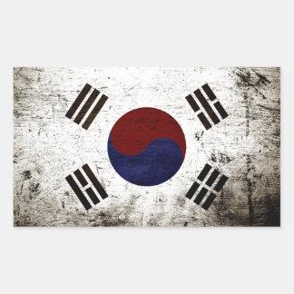南朝鮮の黒くグランジな旗 長方形シール