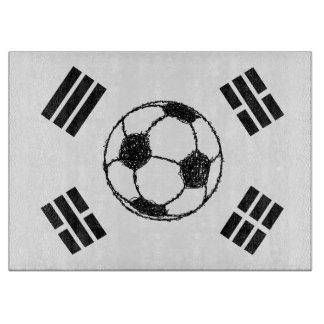 南朝鮮 のフットボールのスケッチの旗 カッティングボード