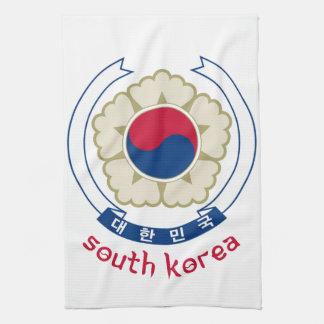 南朝鮮-韓国語かアジアまたはアジア人または紋章または旗 キッチンタオル