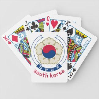 南朝鮮-韓国語かアジアまたはアジア人または紋章または旗 バイスクルトランプ