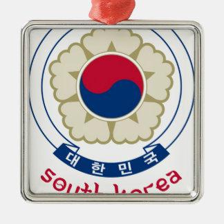 南朝鮮-韓国語かアジアまたはアジア人または紋章または旗 メタルオーナメント