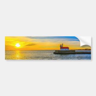 南桟橋の灯台夜明け バンパーステッカー