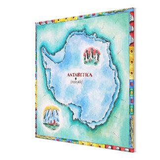 南極大陸の地図 キャンバスプリント
