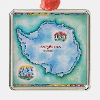 南極大陸の地図 メタルオーナメント