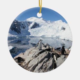 南極大陸のChinstrapのペンギン セラミックオーナメント