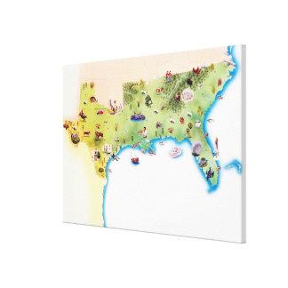 南米国の地図、と キャンバスプリント