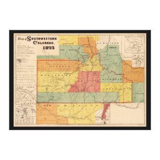 南西コロラド州(1893年)の地図 キャンバスプリント