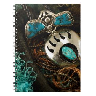 南西ターコイズのリングのループタイの青緑 ノートブック
