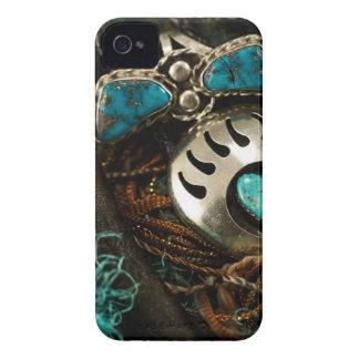 南西ターコイズのリングのループタイの青緑 Case-Mate iPhone 4 ケース