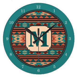 南西デザインのターコイズのテラコッタモノグラム ラージ壁時計