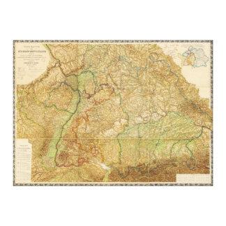 南西ドイツの1875地図 キャンバスプリント