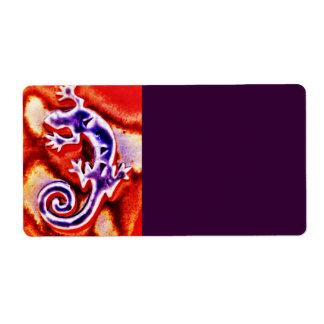 南西ファンキーで青い紫色のオレンジトカゲのヤモリ ラベル