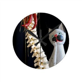 南西脊柱の骨組チリペッパー猫 ラウンド壁時計