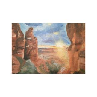南西赤い石の日没のキャンバスプリント キャンバスプリント