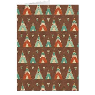 南西Geoのステップ|ティール(緑がかった色)のテント小屋パターン カード
