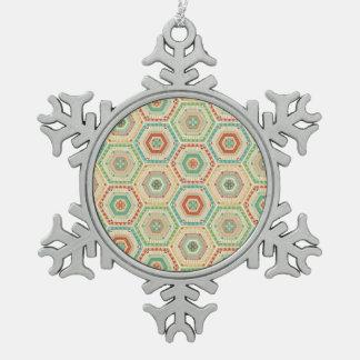 南西Geoのステップ|南西六角形パターン スノーフレークピューターオーナメント