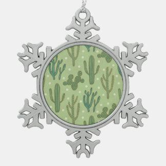 南西Geoのステップ|緑のサボテンパターン スノーフレークピューターオーナメント