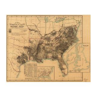 南部諸州の地図1860年の奴隷の配分 ウッドウォールアート