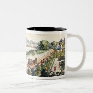 南(プリントに直面するブランクフルトの町の眺め ツートーンマグカップ