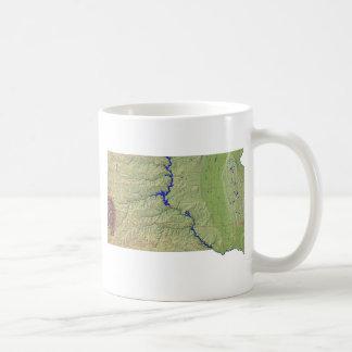 南Dakotan旗 + 地図のマグ コーヒーマグカップ