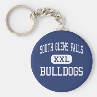 南Glens Falls -ブルドッグ-南Glens Falls ベーシック丸型缶キーホルダー