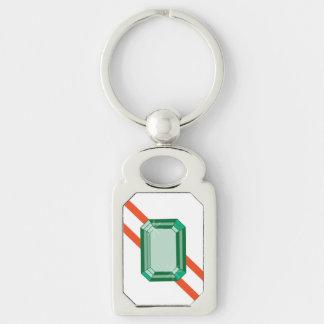 南Nephrite Keychain シルバーカラー長方形キーホルダー