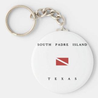 南Padreの島のテキサス州のスキューバ飛び込みの旗 ベーシック丸型缶キーホルダー