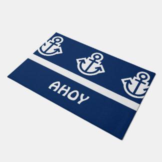 単に記号は-いかり及び縞で飾ります + あなたのアイディア ドアマット
