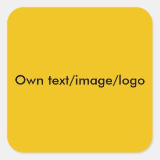 単ステッカーの正方形の黄色 スクエアシール