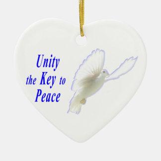 単一性平和ハート形のオーナメントへの鍵 セラミックオーナメント