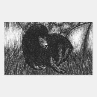単独ライオン 長方形シール
