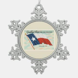 単独星の州のテキサス州TXのヴィンテージ旅行記念品 スノーフレークピューターオーナメント