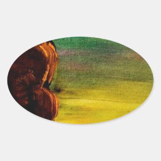 単独木のビーチ 楕円形シール