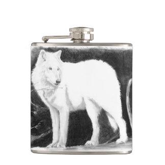 単独白いオオカミ フラスク