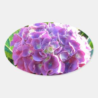 単独紫色のアジサイの花 楕円形シール