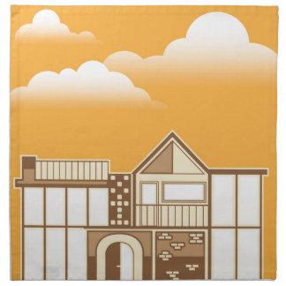 単純化したモダンな家のベクトル ナプキンクロス