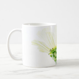 単純化した白い《植物》百日草のマグ コーヒーマグカップ